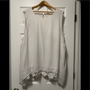 Calvin Klein White Top with Lace/Sheer Overlay